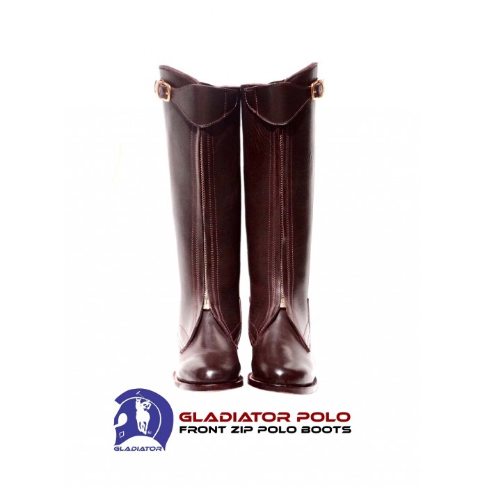 Lady's Premium Italian Leather Zipper Front Polo Player Boots - CUSTOM + Matching Knee Guards Option