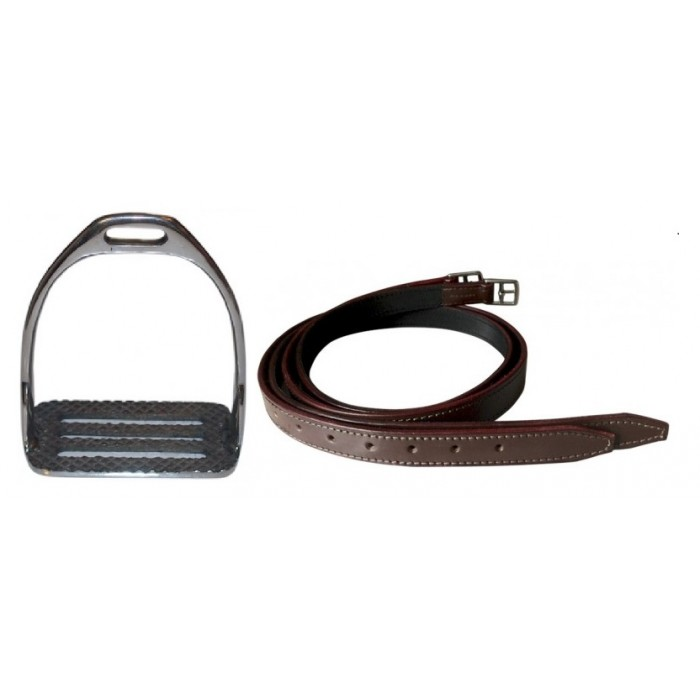COMBO Buffalo Stirrup Leathers and 4 Bar Stirrup Irons for Polo, Nylon Web